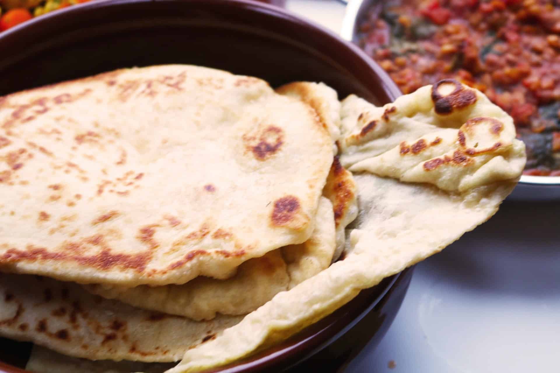 , Green Lentil Dal with Quick Naan Breads