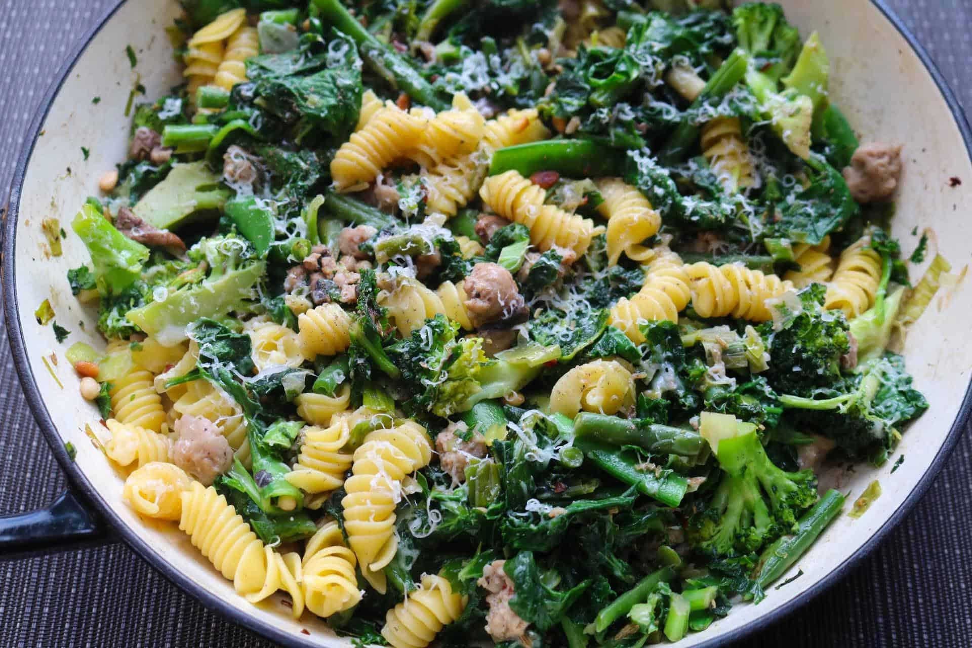 Sausage Pasta, Sausage, Vegetable and Pine Nut Pasta