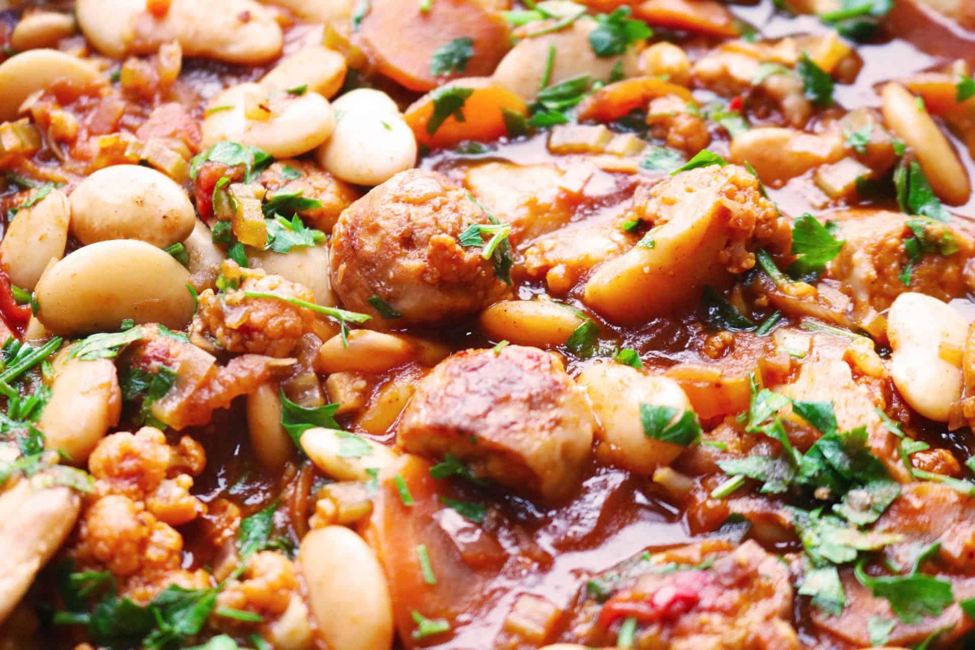 , Spiced Bean and Banger Stew