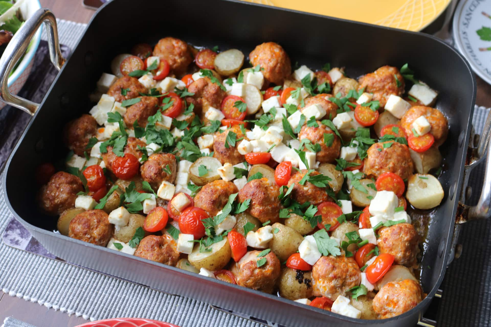 Chorizo Meatball and Feta Traybake, Chorizo Meatball and Feta Traybake