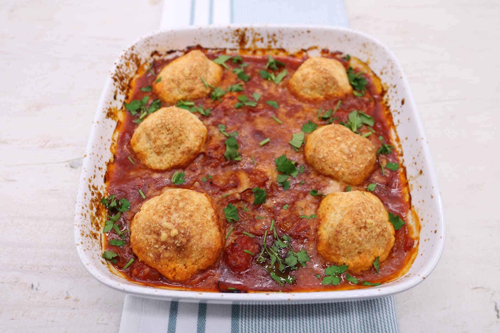 Chicken Arrabbiata Stew and Parmesan Dumplings, Chicken Arrabbiata Stew and Parmesan Dumplings