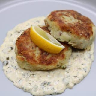 Smoked Haddock Fishcakes with Warm Tartare Sauce, Smoked Haddock Fishcakes with Warm Tartare Sauce