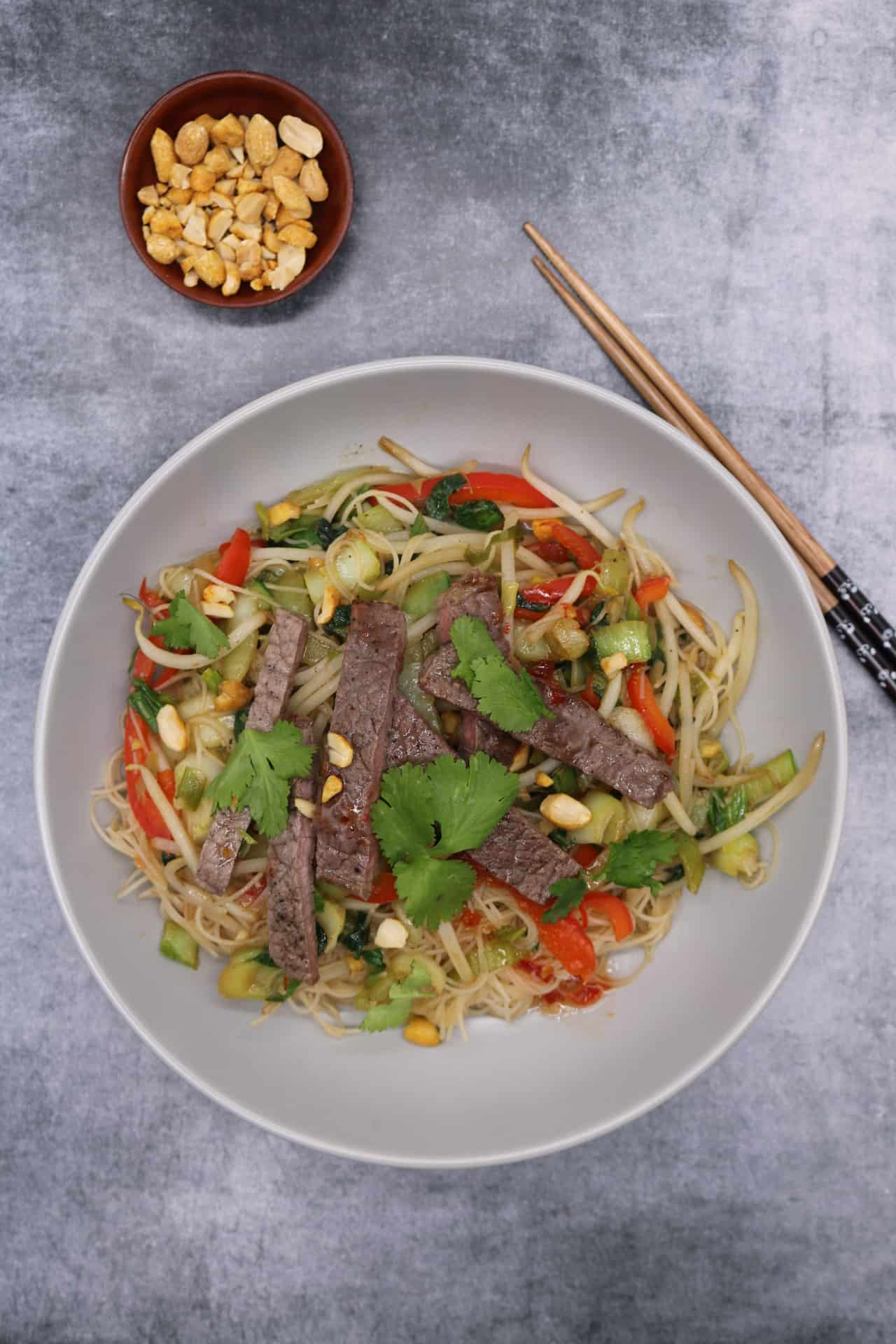 Chilli Beef and Vegetable Rice Noodles with Peanuts, Chilli Beef and Vegetable Rice Noodles with Peanuts