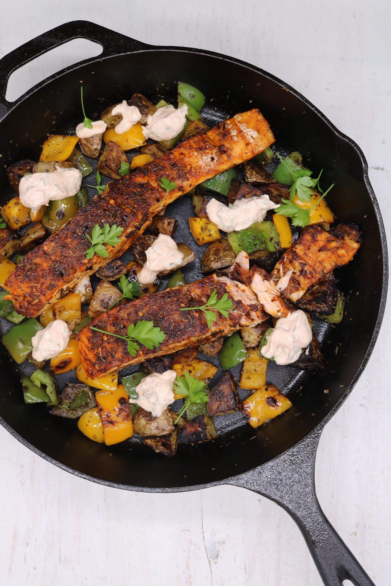 Cajun-Style Charred Salmon with Cowboy Potatoes, Cajun-Style Charred Salmon with Cowboy Potatoes