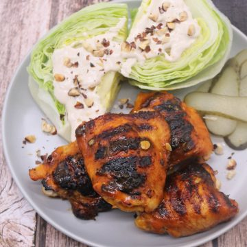BBQ Buffalo Chicken Thighs with Wedged Ranch Salad, BBQ Buffalo Chicken Thighs with Wedged Ranch Salad
