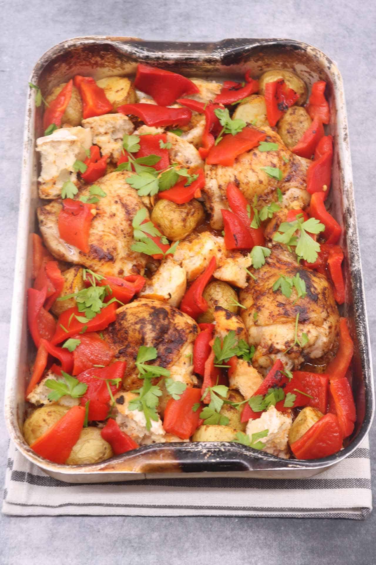 Chicken Thighs with Romesco Traybake, Chicken Thighs with Romesco Traybake
