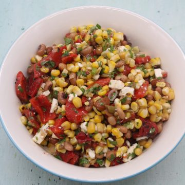 Grilled Sweetcorn Salad with Feta, Grilled Sweetcorn Salad with Feta