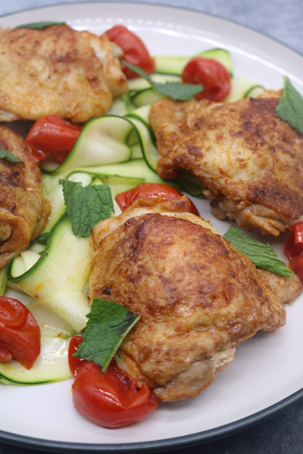 Paprika Chicken Thighs with Cherry Tomatoes and Courgette Ribbons, Paprika Chicken Thighs with Cherry Tomatoes and Courgette Ribbons