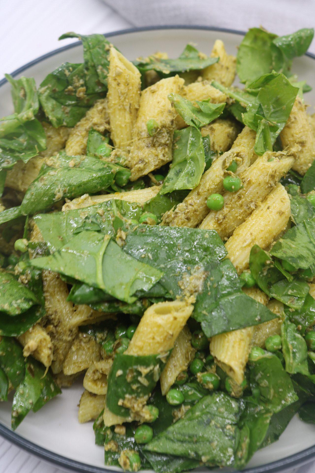 Pesto, Peas and Spinach Pasta Salad, Pesto, Peas and Spinach Pasta Salad