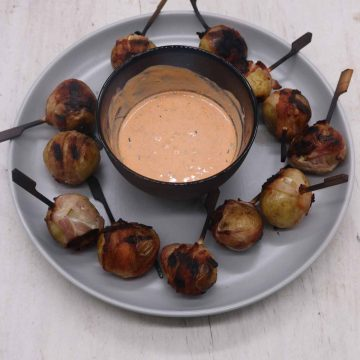 Baby New Potatoes Wrapped in Bacon with Harissa Cheese Dip, Baby New Potatoes Wrapped in Bacon with Harissa Cheese Dip